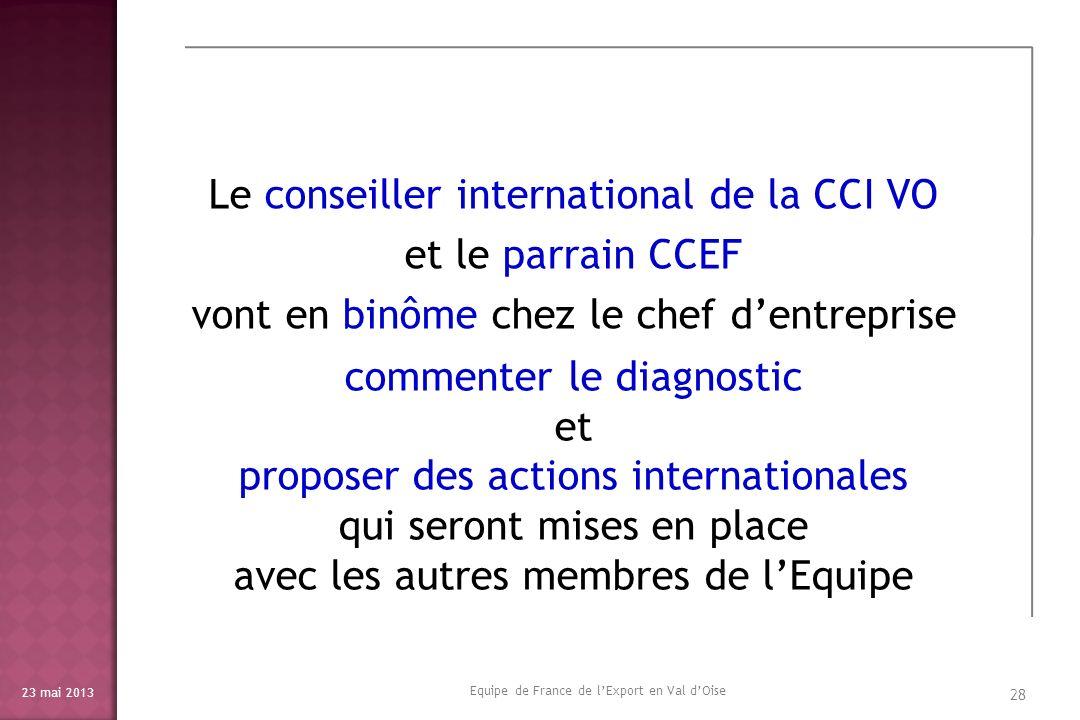 Le conseiller international de la CCI VO et le parrain CCEF