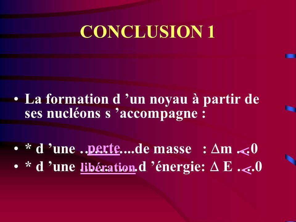 CONCLUSION 1 La formation d 'un noyau à partir de ses nucléons s 'accompagne : * d 'une ………...de masse : Dm …0.