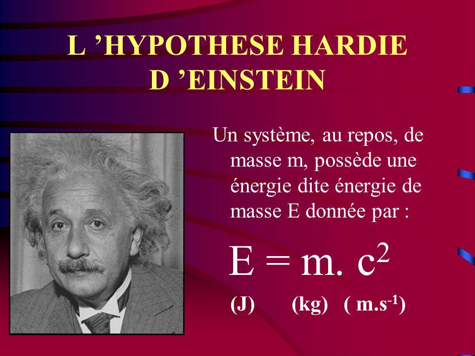 L 'HYPOTHESE HARDIE D 'EINSTEIN