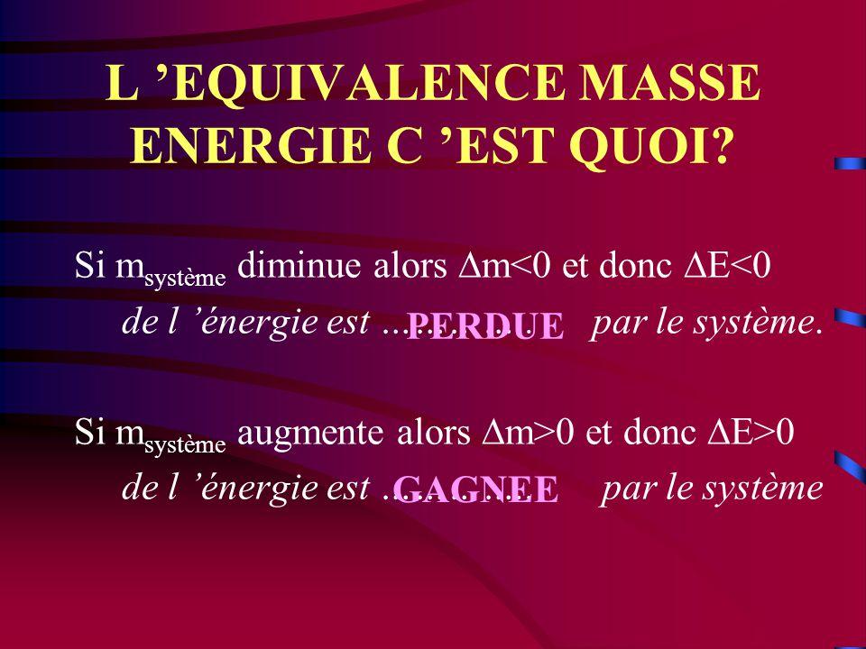 L 'EQUIVALENCE MASSE ENERGIE C 'EST QUOI