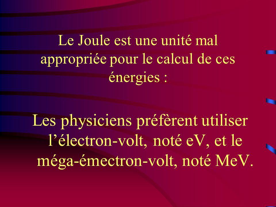 Le Joule est une unité mal appropriée pour le calcul de ces énergies :