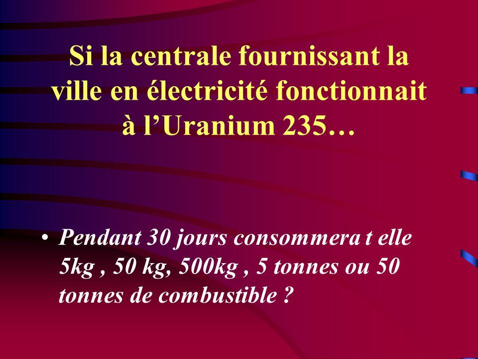 Si la centrale fournissant la ville en électricité fonctionnait à l'Uranium 235…