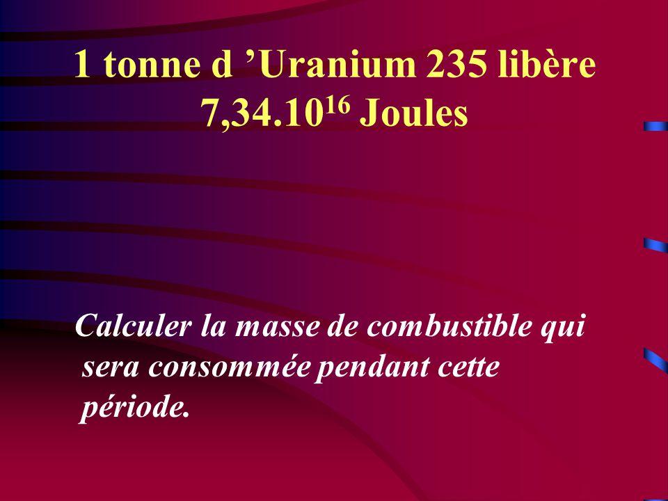 1 tonne d 'Uranium 235 libère 7,34.1016 Joules