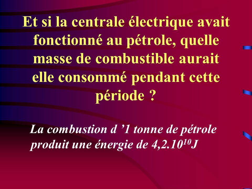Et si la centrale électrique avait fonctionné au pétrole, quelle masse de combustible aurait elle consommé pendant cette période