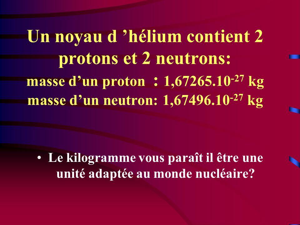 Un noyau d 'hélium contient 2 protons et 2 neutrons: masse d'un proton : 1,67265.10-27 kg masse d'un neutron: 1,67496.10-27 kg