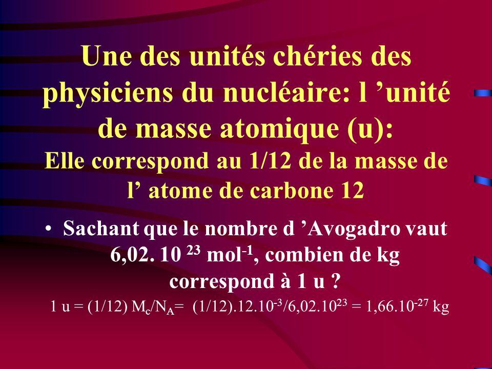 Une des unités chéries des physiciens du nucléaire: l 'unité de masse atomique (u): Elle correspond au 1/12 de la masse de l' atome de carbone 12