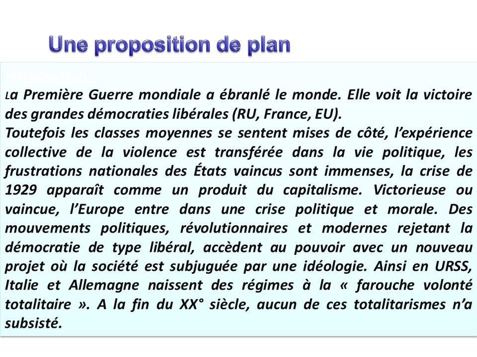 Une proposition de plan