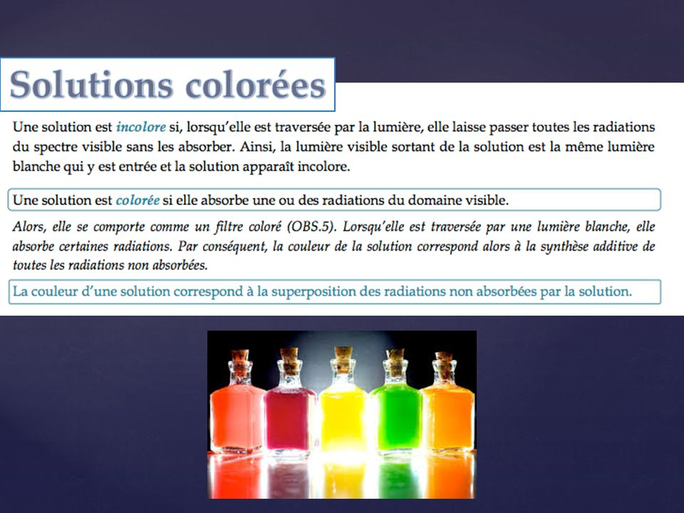 Solutions colorées