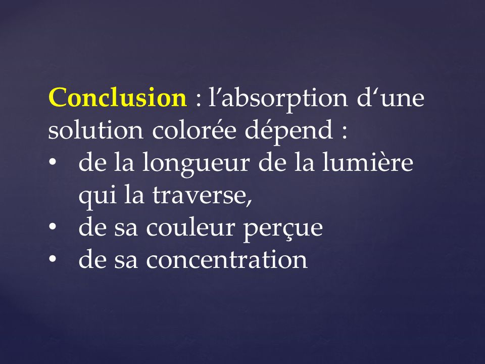 Conclusion : l'absorption d'une solution colorée dépend :