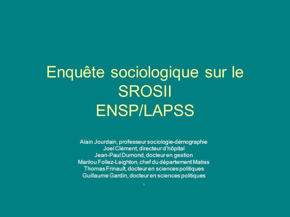 Enquête sociologique sur le SROSII ENSP/LAPSS