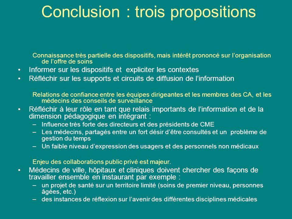 Conclusion : trois propositions