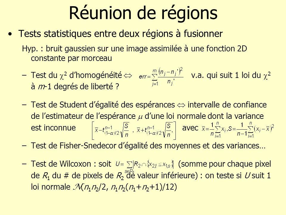 Réunion de régions Tests statistiques entre deux régions à fusionner