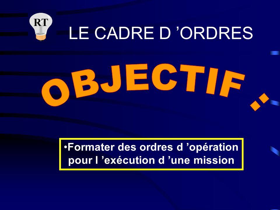 Formater des ordres d 'opération pour l 'exécution d 'une mission
