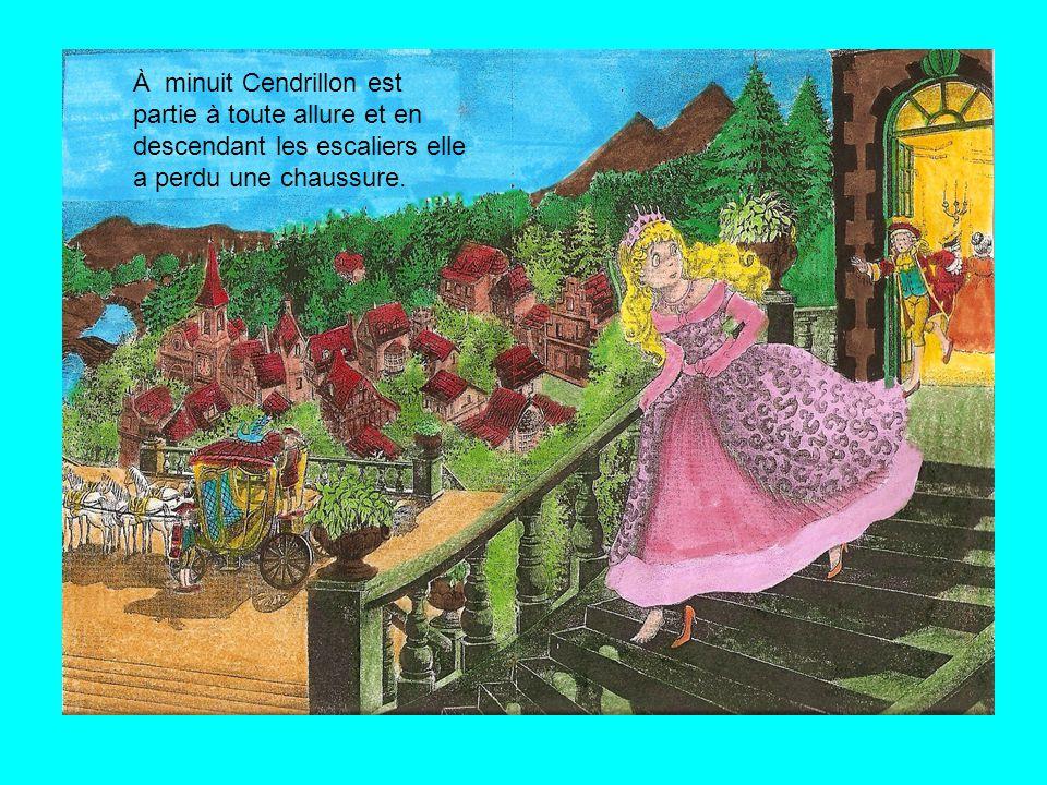À minuit Cendrillon est partie à toute allure et en descendant les escaliers elle a perdu une chaussure.