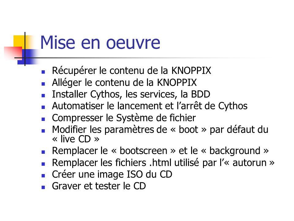 Mise en oeuvre Récupérer le contenu de la KNOPPIX