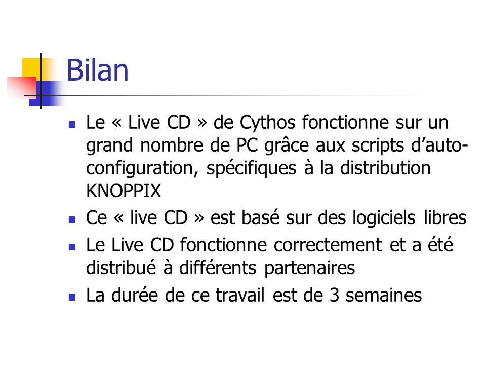 BilanLe « Live CD » de Cythos fonctionne sur un grand nombre de PC grâce aux scripts d'auto-configuration, spécifiques à la distribution KNOPPIX.