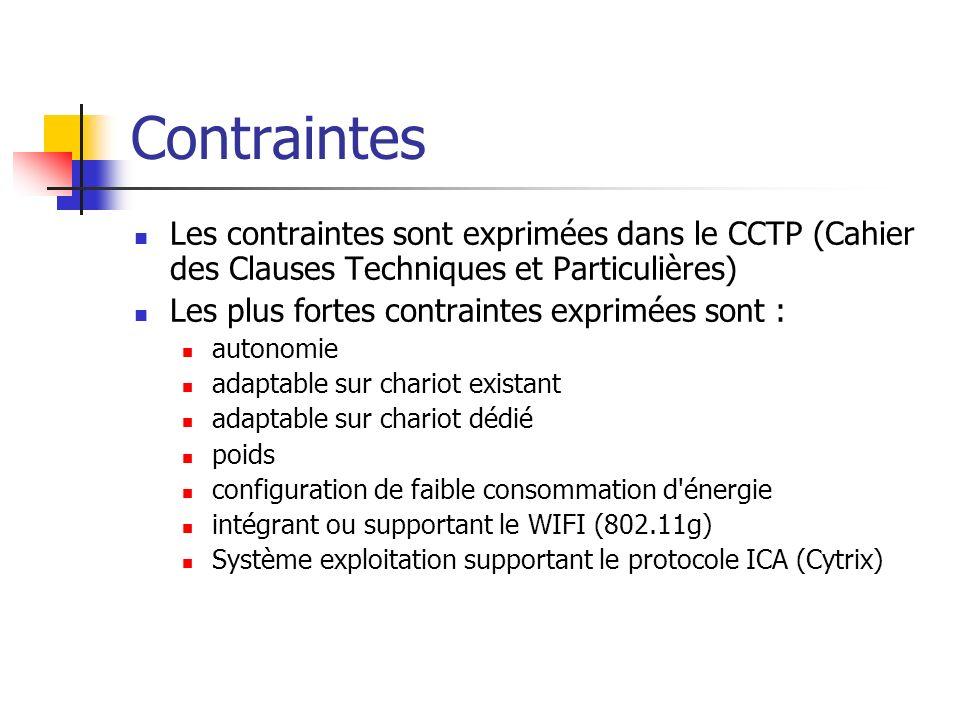 ContraintesLes contraintes sont exprimées dans le CCTP (Cahier des Clauses Techniques et Particulières)