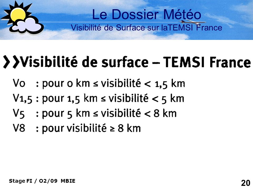 Le Dossier Météo Visibilité de Surface sur laTEMSI France