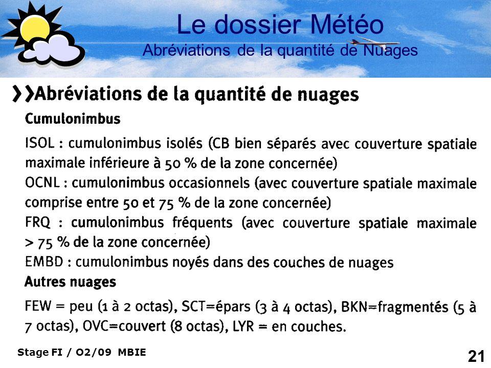 Le dossier Météo Abréviations de la quantité de Nuages