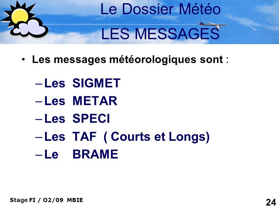 Le Dossier Météo LES MESSAGES