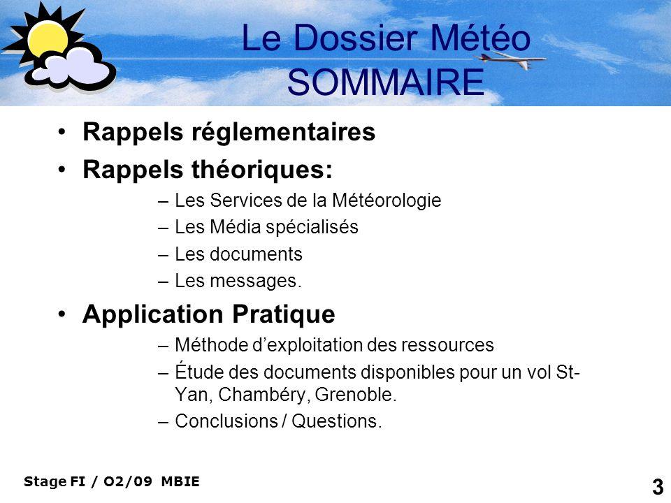 Le Dossier Météo SOMMAIRE