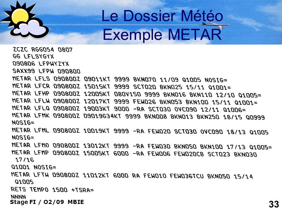 Le Dossier Météo Exemple METAR