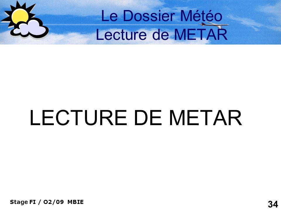 Le Dossier Météo Lecture de METAR