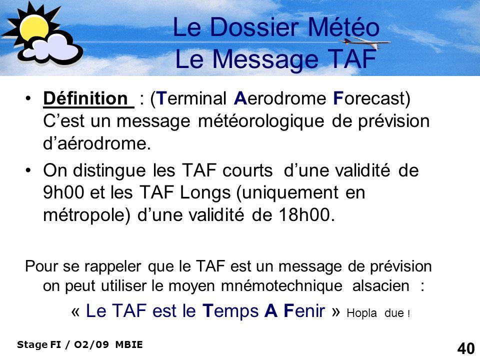 Le Dossier Météo Le Message TAF