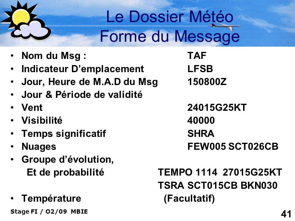 Le Dossier Météo Forme du Message