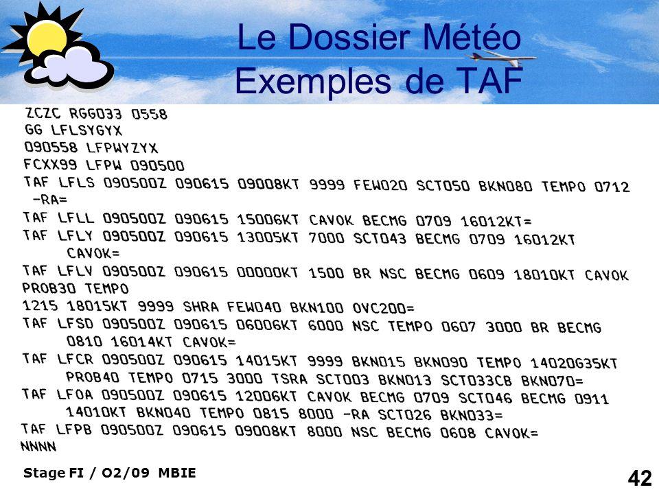 Le Dossier Météo Exemples de TAF