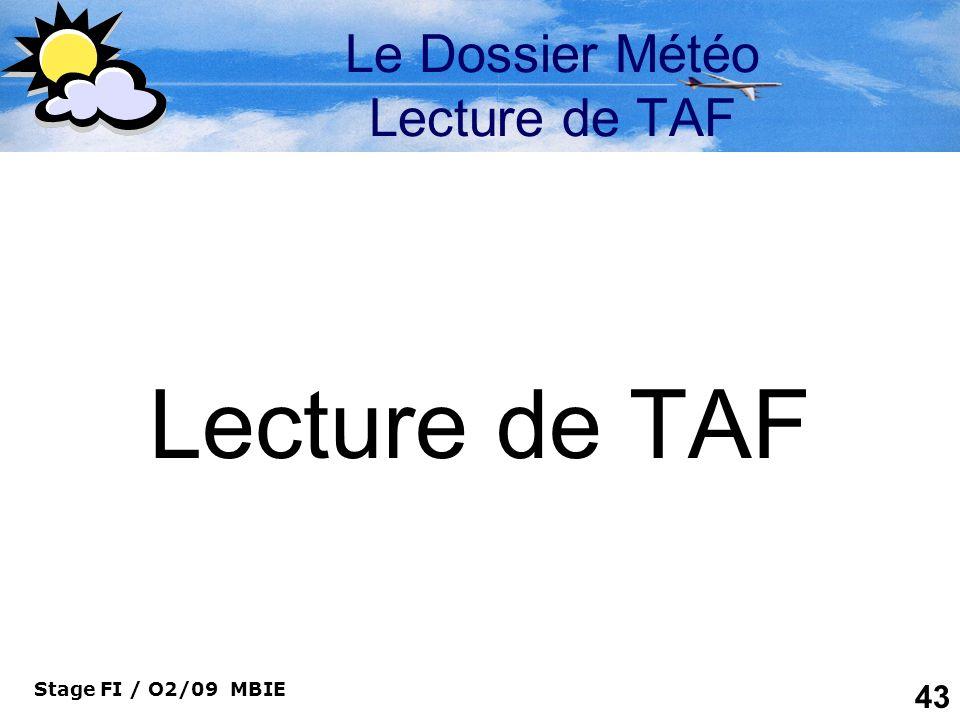 Le Dossier Météo Lecture de TAF