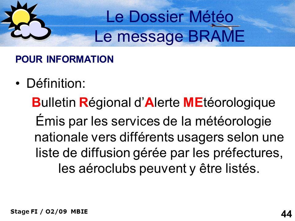 Le Dossier Météo Le message BRAME