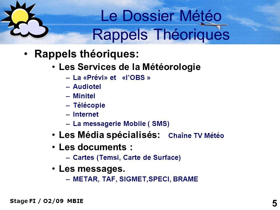 Le Dossier Météo Rappels Théoriques