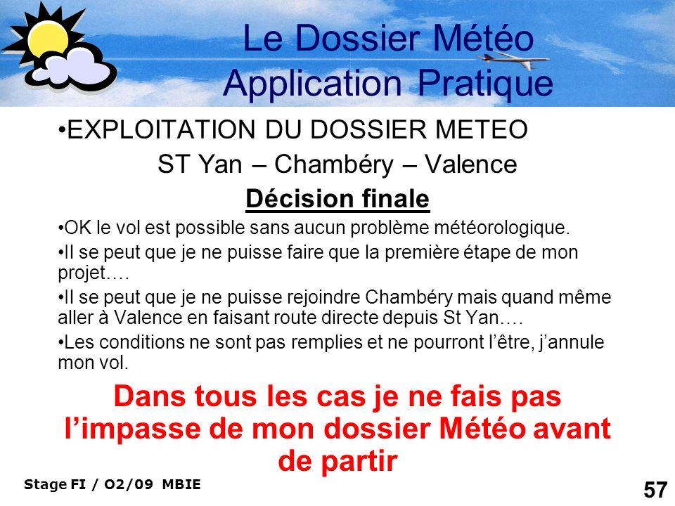 Le Dossier Météo Application Pratique