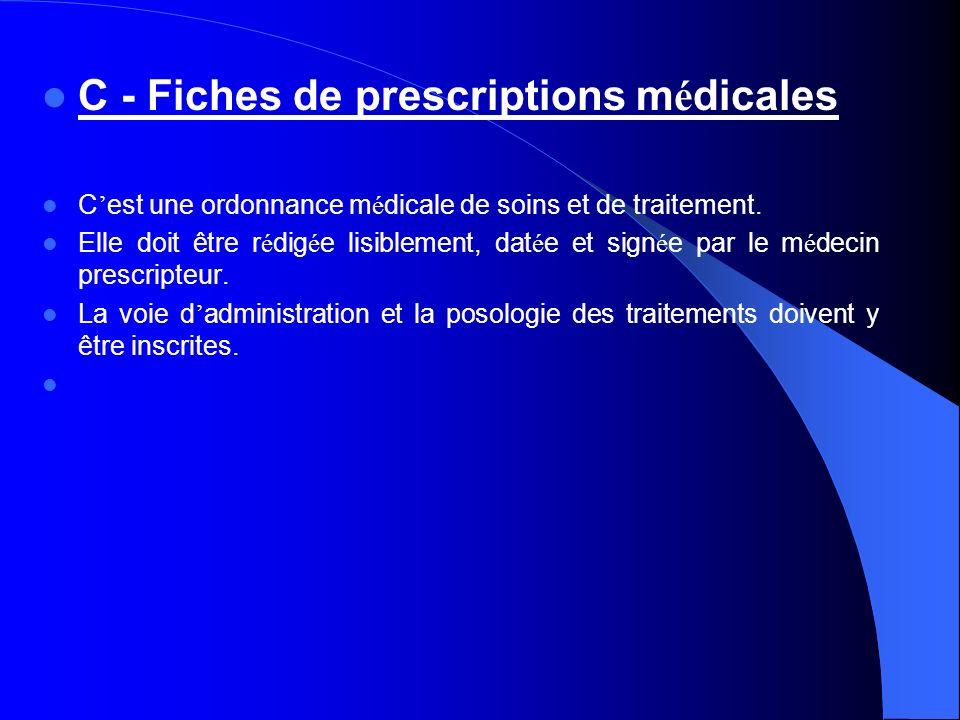 C - Fiches de prescriptions médicales
