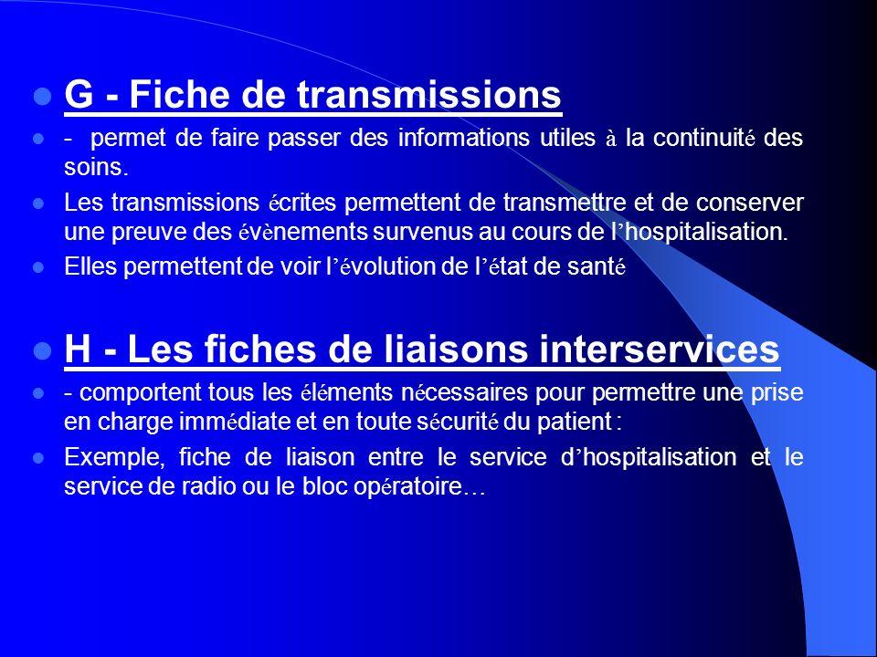 G - Fiche de transmissions