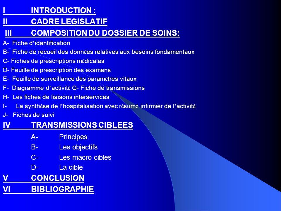 III COMPOSITION DU DOSSIER DE SOINS: