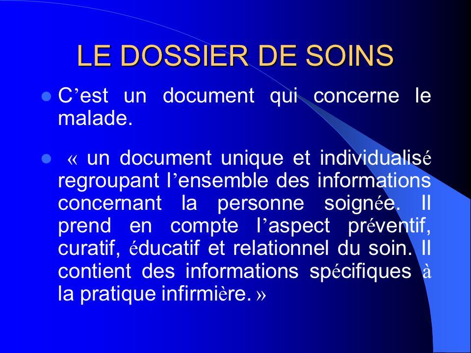 LE DOSSIER DE SOINS C'est un document qui concerne le malade.