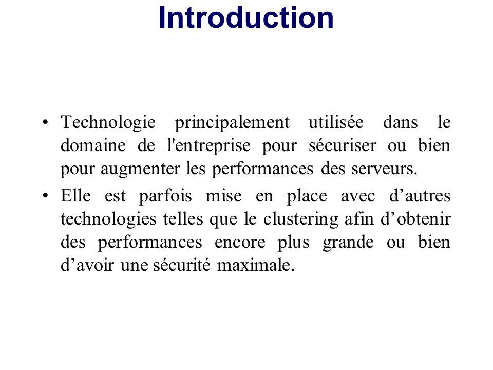 Introduction Technologie principalement utilisée dans le domaine de l entreprise pour sécuriser ou bien pour augmenter les performances des serveurs.