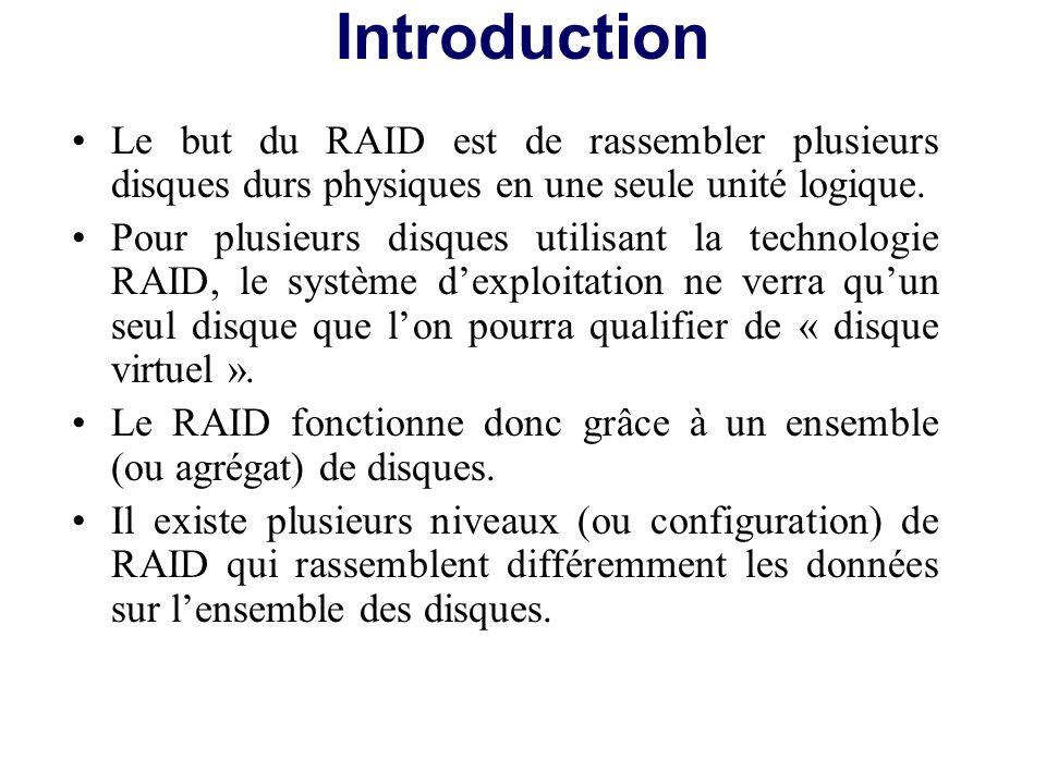 Introduction Le but du RAID est de rassembler plusieurs disques durs physiques en une seule unité logique.