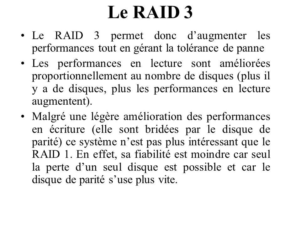 Le RAID 3 Le RAID 3 permet donc d'augmenter les performances tout en gérant la tolérance de panne.