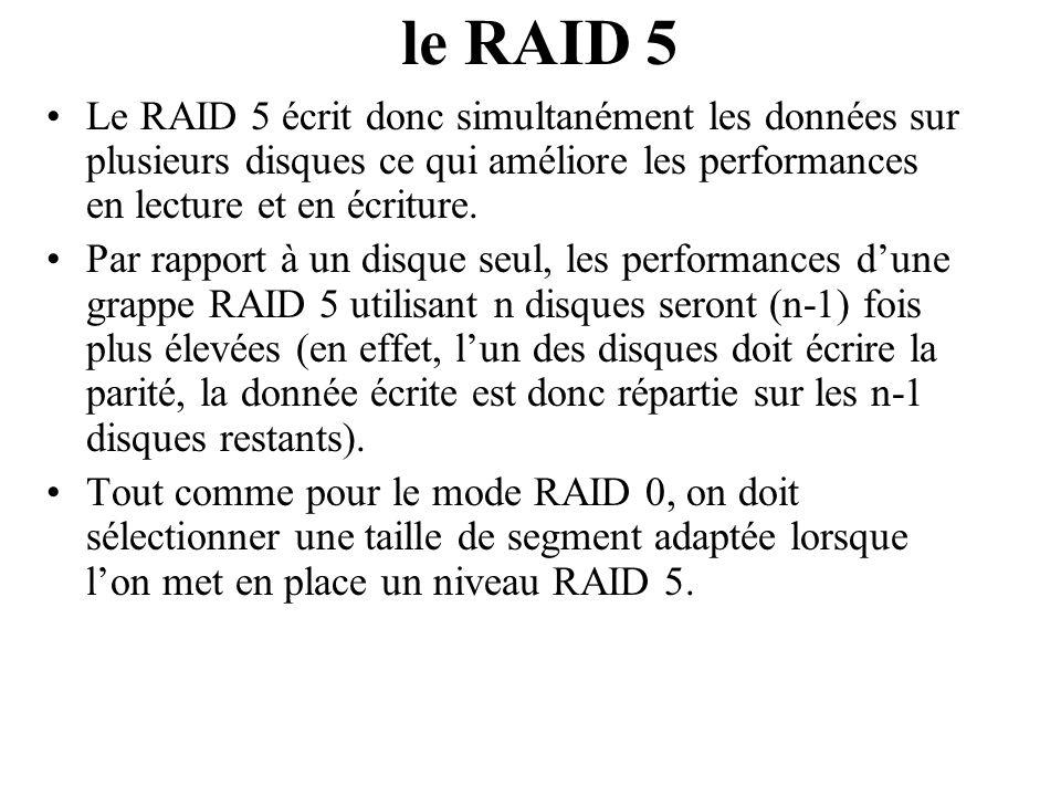 le RAID 5 Le RAID 5 écrit donc simultanément les données sur plusieurs disques ce qui améliore les performances en lecture et en écriture.
