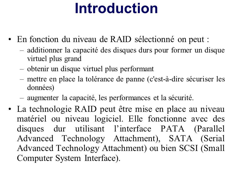 Introduction En fonction du niveau de RAID sélectionné on peut :