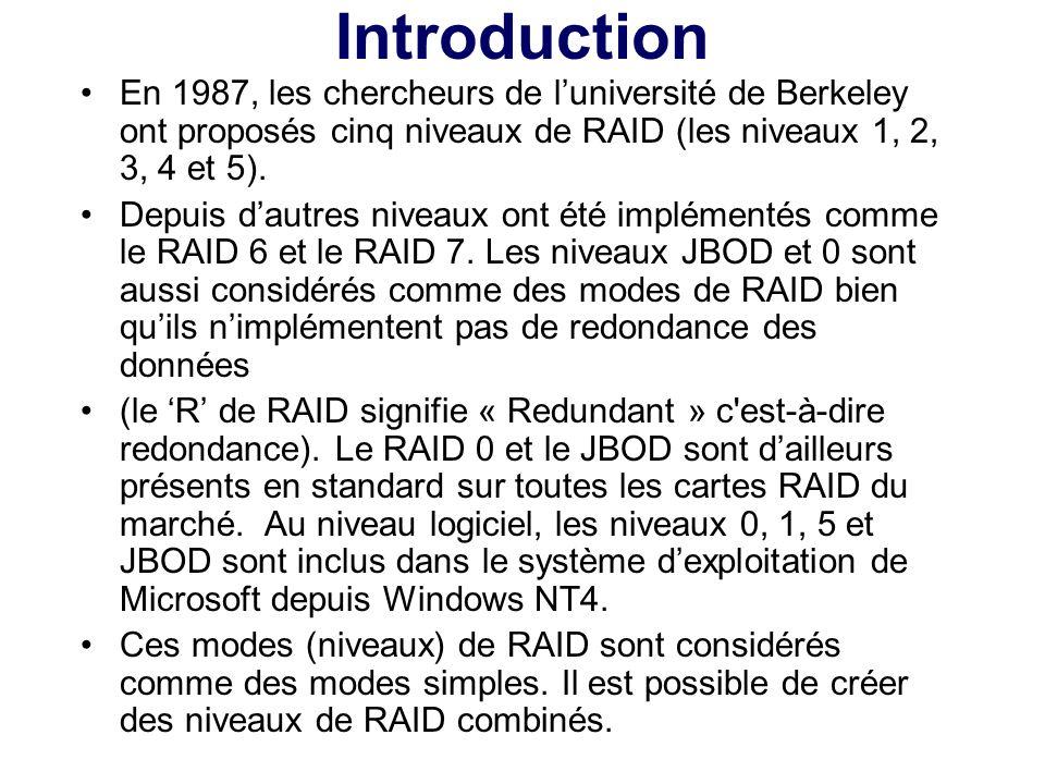 Introduction En 1987, les chercheurs de l'université de Berkeley ont proposés cinq niveaux de RAID (les niveaux 1, 2, 3, 4 et 5).