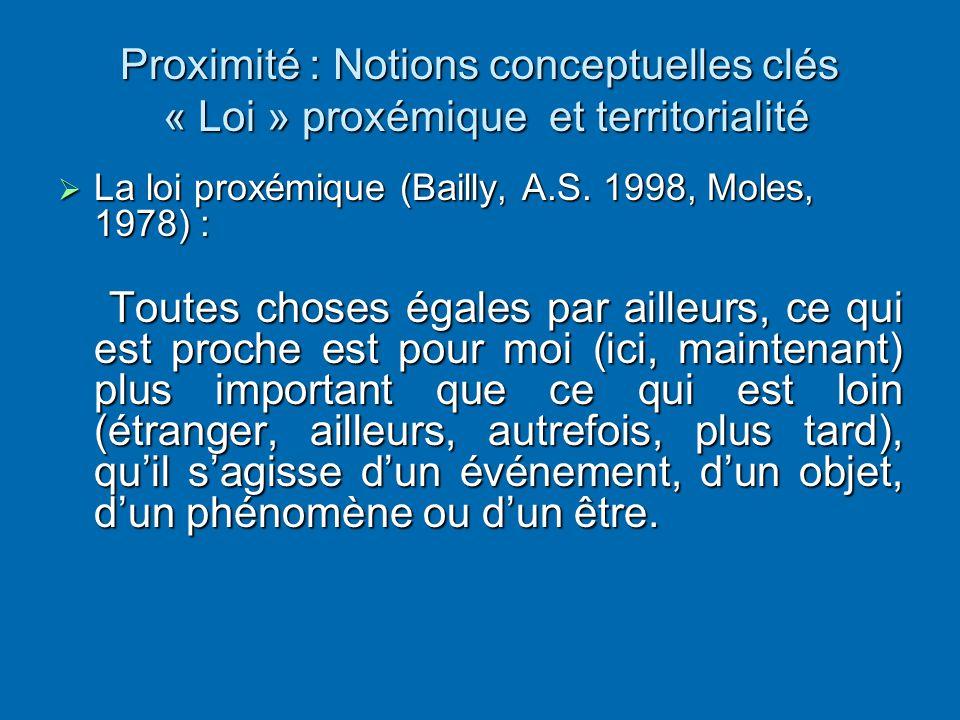 Proximité : Notions conceptuelles clés « Loi » proxémique et territorialité