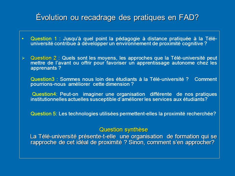 Évolution ou recadrage des pratiques en FAD
