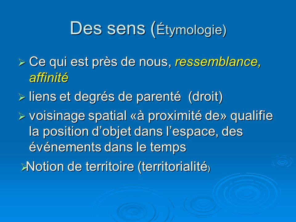 Des sens (Étymologie) Ce qui est près de nous, ressemblance, affinité