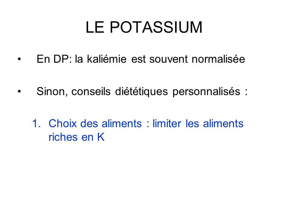 LE POTASSIUM En DP: la kaliémie est souvent normalisée