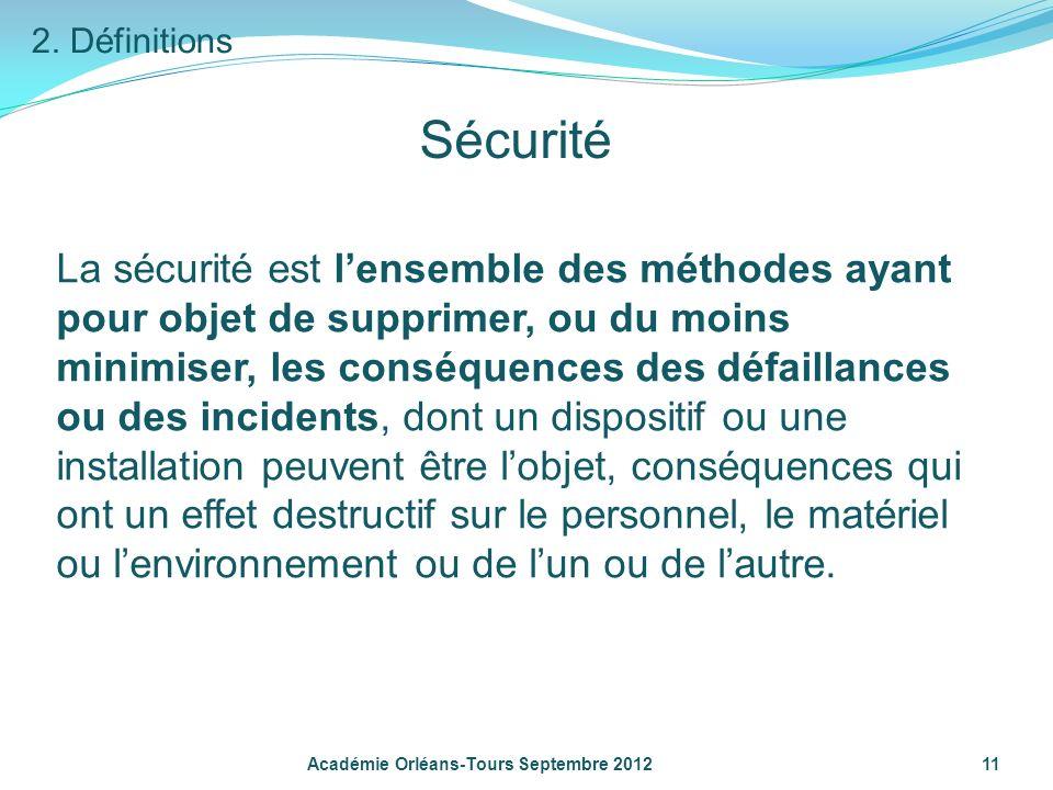 2. DéfinitionsSécurité.