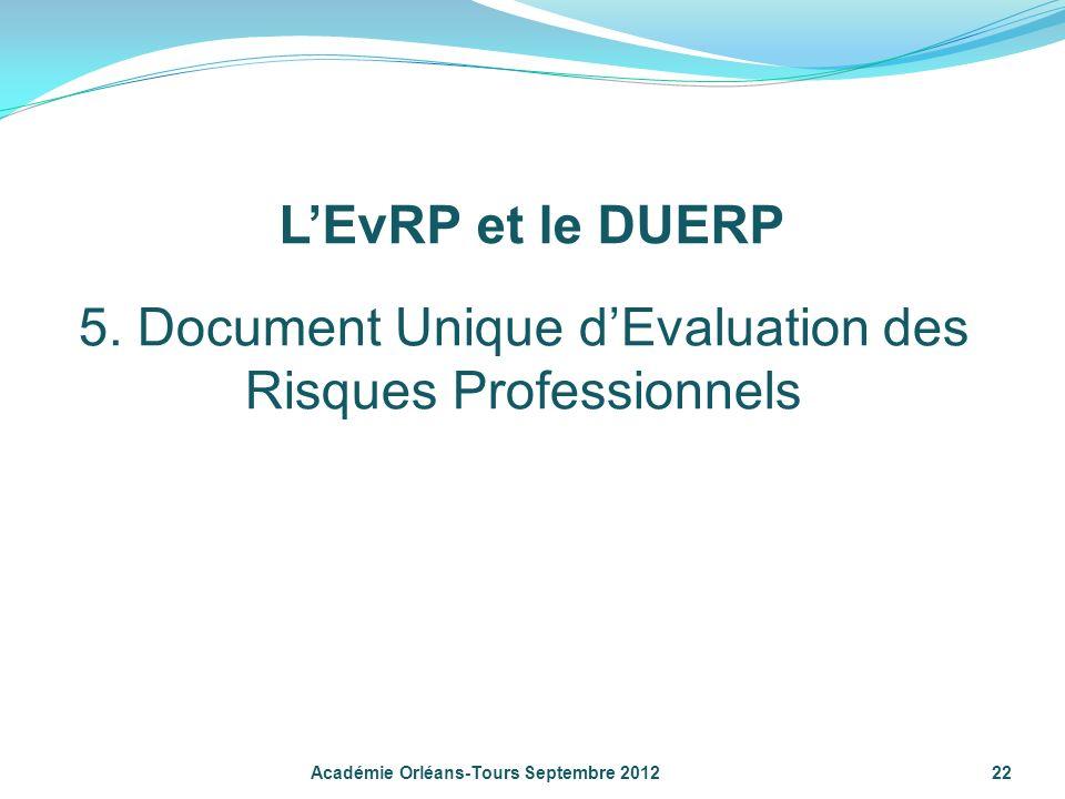 5. Document Unique d'Evaluation des Risques Professionnels